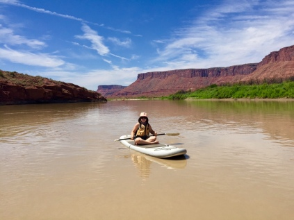 Moab Daily River trip, paddle boarded most of it, raft following for support and snacks!
