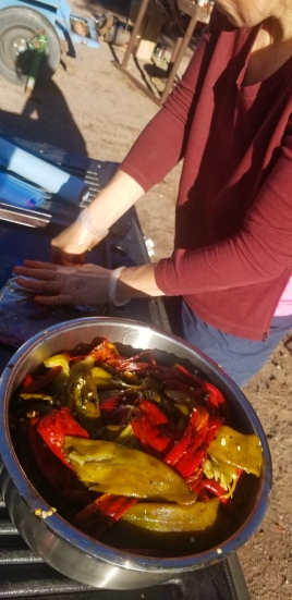 Peeling and packing chile.