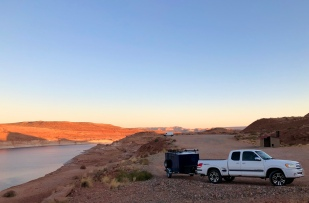 Camp trailer and morning light on Lake Powell.